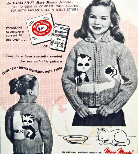 Vintage 1957 zombie cat likes milk sweater