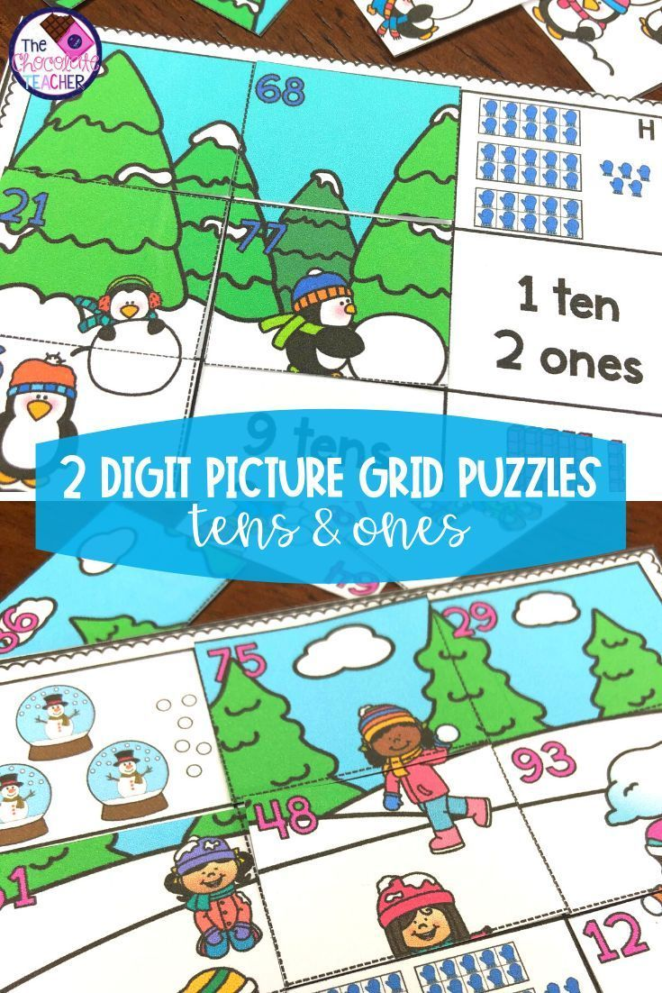2 Digit Winter Place Value Puzzles With Tens And Ones 1