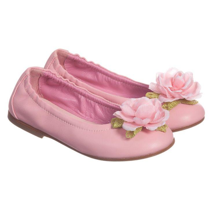 Quis Quis Pink Leather Floral Ballet Pumps  at Childrensalon.com