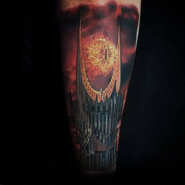 Amazing Lord Of The Rings Eye Of Sauron Male Tattoo Sleeve