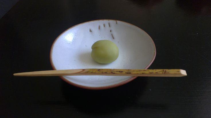 Ao ume, green plum (white sweet bean paste wrapped in konashi) Tray by Nathalie Lahdenmäki