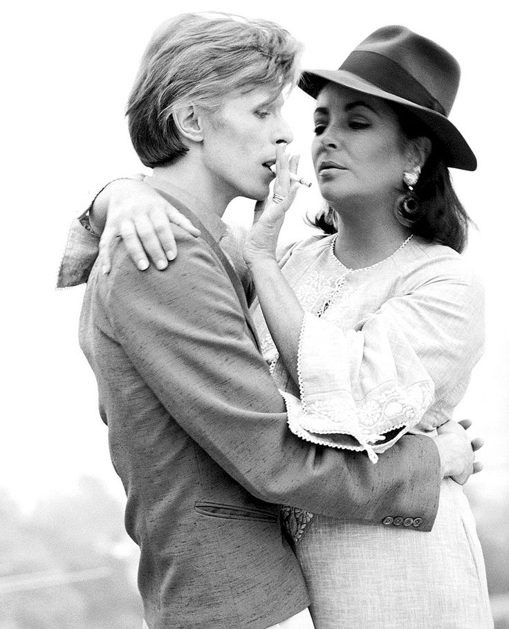 David Bowie and Elizabeth Taylor, 1975 by Terry... - Historical Times