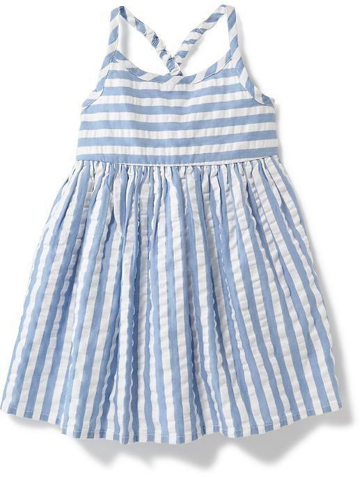 Cross-Back Striped Seersucker Dress for Baby