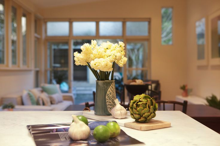 Kitchen, Interior Design, For Sale, Annandale, Green, Yellow, Food, Cooking, Pilcher Residential, Benchtop, Flowers