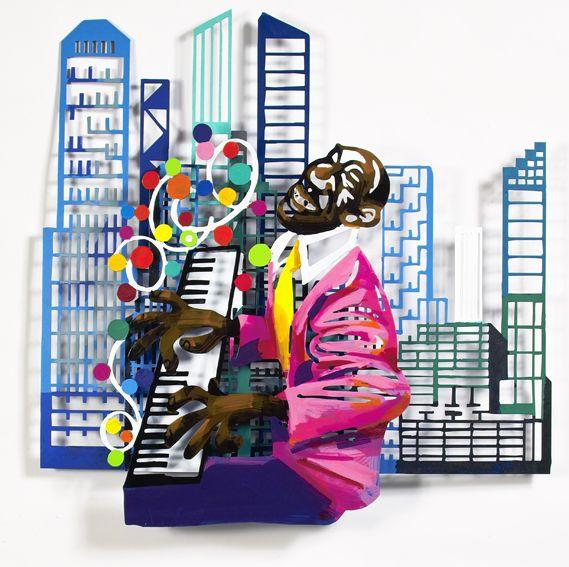 """Pianist #Jazz - 2004, 38"""" x 37"""" in, Wall Sculpture By #DavidGerstein - #HorizonArts #Miami #ArtGallery #Wynwood #Urban #Jazzandthecity http://www.davidgerstein.us/portfolio/pianist/"""