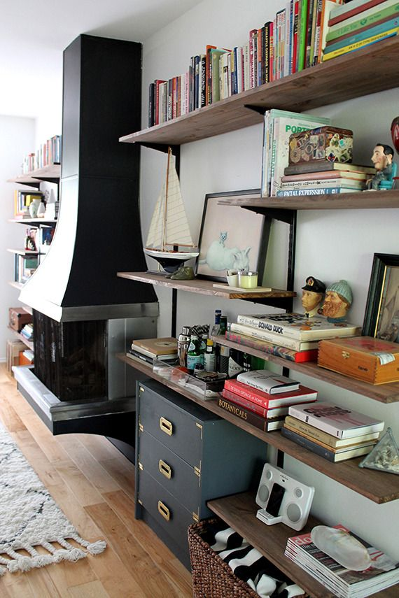 how to make a rustic shelving and media unit from hardware store materials