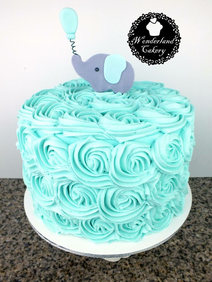 Teal baby shower cake. Boy baby shower.  Buttercream. Elephant. #cake #wonderlandcakery
