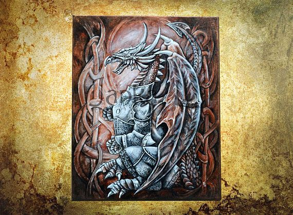 The Dragon  Original acrylic painting on canvas board