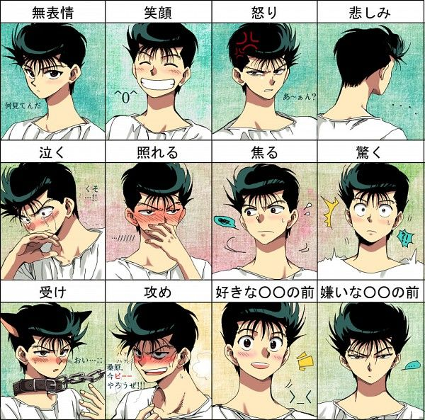 Tags: Anime, Surprised, Yu Yu Hakusho, Urameshi Yuusuke, Vein Pop, T-shirt, Expression Chart