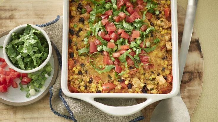 An easy Mexican dinner for just 300 calories per serving. You can even assemble it ahead of time, refrigerate, then bake just before serving!