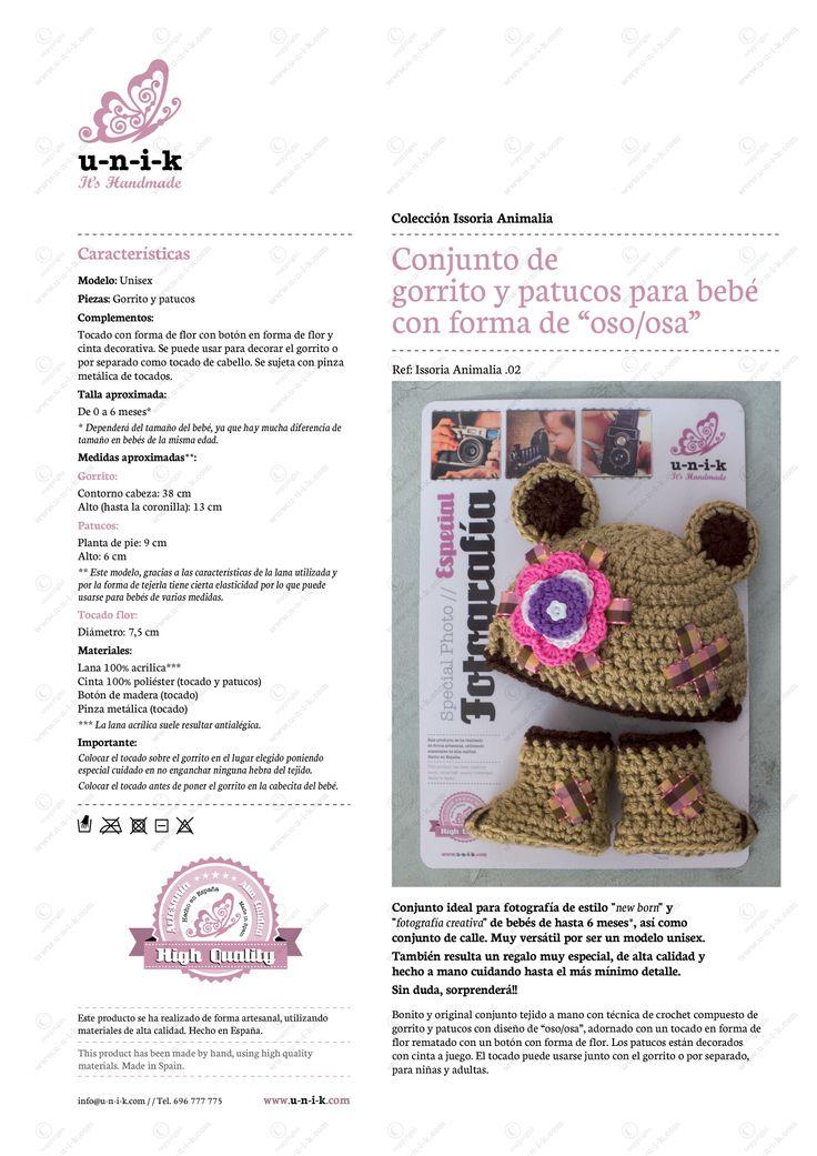 """Conjunto de gorrito y patucos para bebé con forma de """"osito/osita"""" tejido a crochet. Ref: Issoria Animalia .02"""