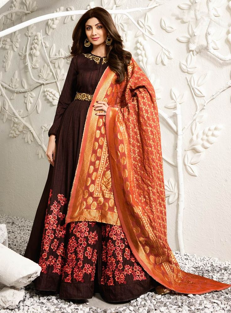 Shilpa Shetty Brown Raw Silk Floor Length Anarkali Suit 88724