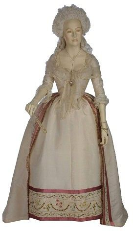 Robe, 1780-85 France, the Victoria & Albert Museum  This gown demonstrates the fashionable styles in women's formal dress of the 1780s. The ...