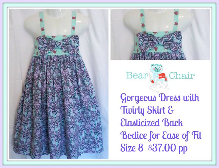 Handmade By Bear In A Chair Gorgeous Dress with Twirly Skirt $ Elasticized Back Bodice for Ease of Fit For more information, please visit https://www.facebook.com/HandmadeMarkets