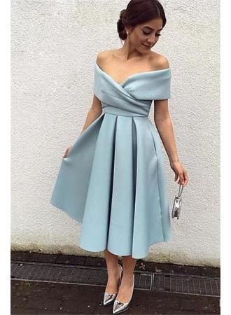 USD$113.00 - Satin 2018 Off-the-shoulder New Tea-Length Elegant Baby-Blue Evening Dresses BA3994 - www.27dress.com