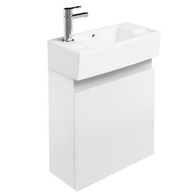Britton Bathrooms Narrow Wall Hung Cloakroom Vanity Unit - White Finish