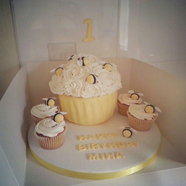 Bee Cup Birthday Cake