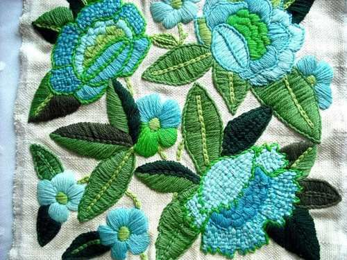 Poppies Floral Vtg Linen Pillow Top Completed frm Kit Wool Crewel Embroidery   eBay