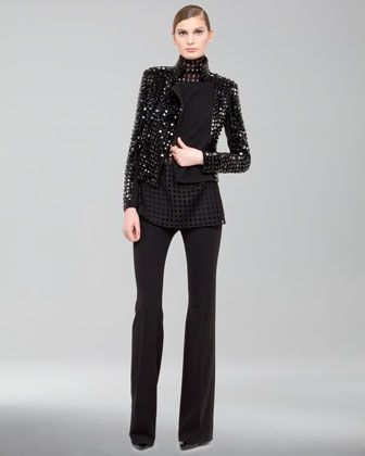 Hilton Studded Moto Jacket, Mock-Neck Grid-Weave Blouse & Farrah Wool Boot-Cut Pants by Akris at Bergdorf Goodman.