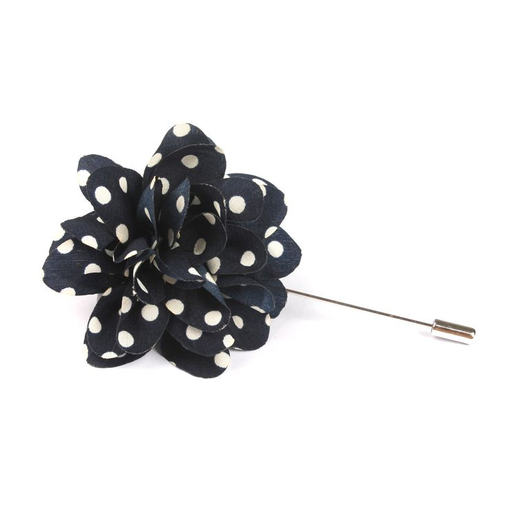 Midnight Blue Lapel Flower With White Dots | Suit Lapel Flower Pins | The Brothers at OTAA | OTAA.COM