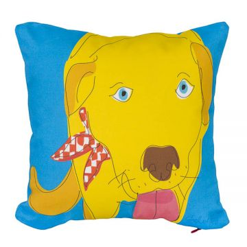 "Yellow Lab pillow, 12""x12"" cotton twill with Faux-down insert."