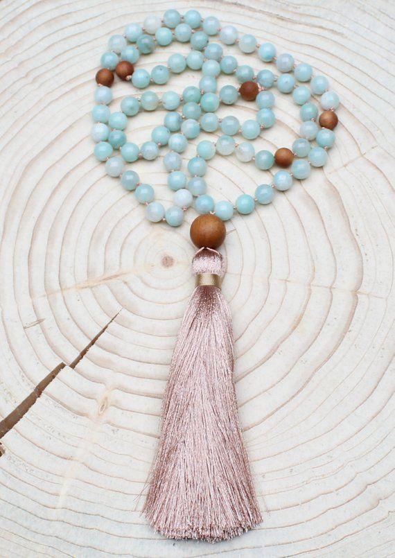 Mala Necklace 108 Beads Necklace Mala Amazonite Gemstone Mala