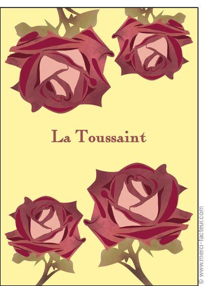 #carte #dessin #photo #squelette #fleurs #toussaint #bouquet #card #calavera #skull #flowers #drawing #allsaints Carte La Toussaint avec des roses pour envoyer par La Poste, sur Merci-Facteur !