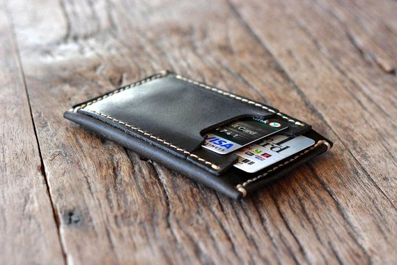 The Inside Out Men's Leather Wallet - NOW in BLACK -- Minimalist Wallets - 031 - The Wallet of The Year on Etsy, $28.00
