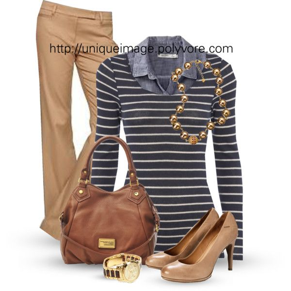 Work Outfits | Navy Striped Top