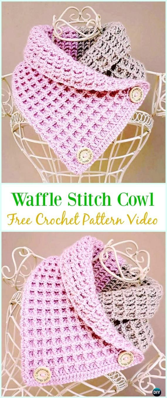 Crochet Warm & Cozy Waffle Stitch Cowl Free Pattern Video - #Crochet Waffle Stitch Free Patterns & Variations