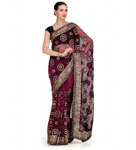 Wine Tissue Saree with Velvet and Swarovski Work | Fabroop