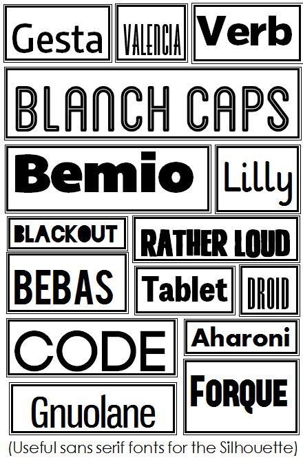 Sans serif fonts for silhouette great use of silhouette