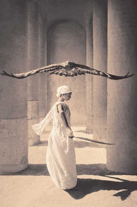 "Gregory Colbert. Eagle with Dancer, from his 2006 Santa Monica exhibition ""Ashes & Snow."""