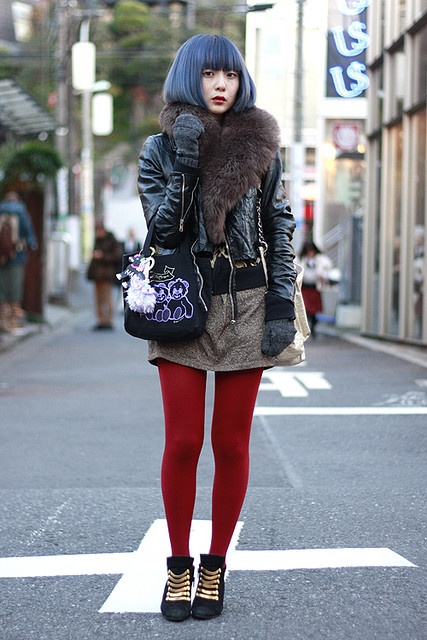 Japanese street fashion with red tights