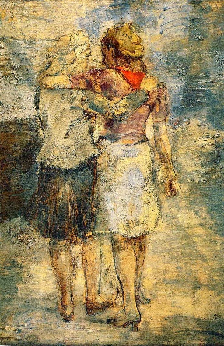 Unknown - Mother with Children, oil on board For Sale at