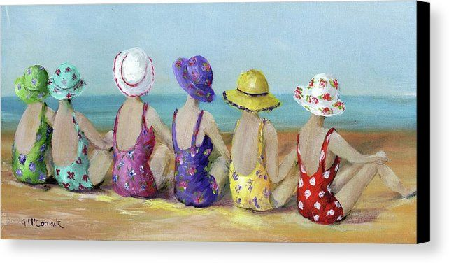 Beauties At The Beach Boho Style Canvas Print Canvas Art By Gail