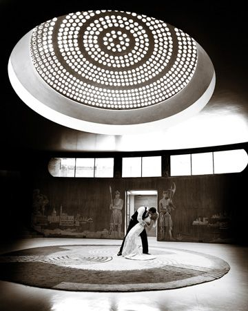 A Newly Married Couple Dancing Under The Glass Dome In Eltham Palace London