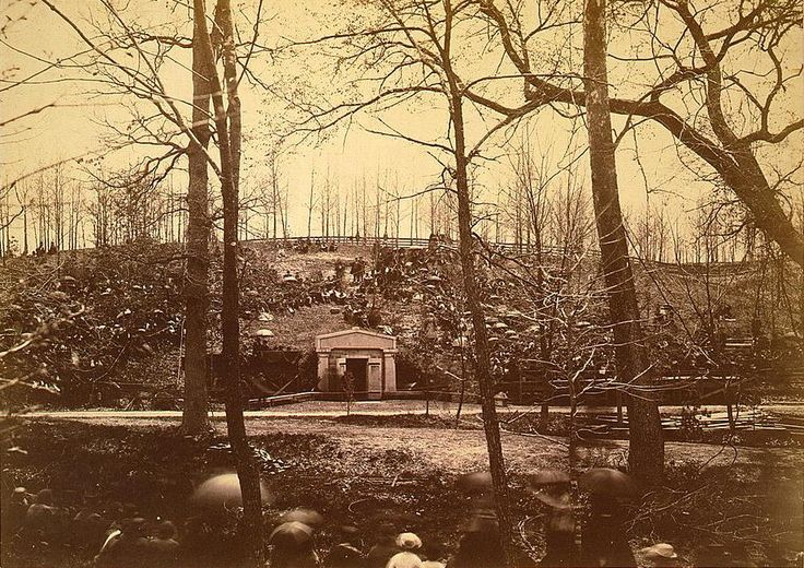Two photographs taken during President Abraham Lincoln's funeral when his casket as well as the one of his son, William Wallace Lincoln, was temporarily placed in the receiving vault of...