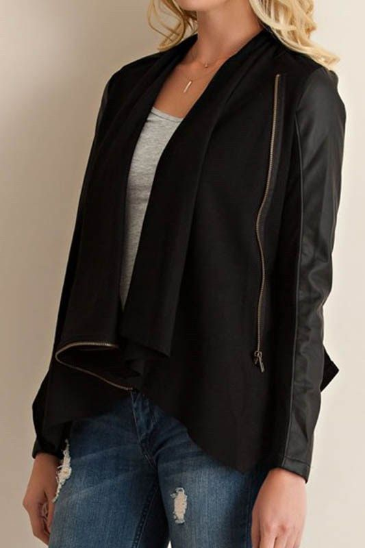 Solid Black Faux Leather Jacket