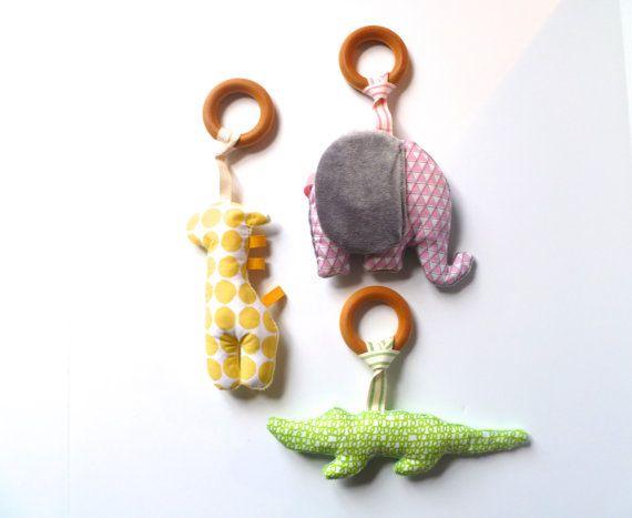 Organic baby toy plush wooden teething ring rattle by atMemashouse, $9.50