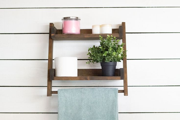 Floating Ladder Shelf with Towel Bar   Ladder shelf, Towel ...
