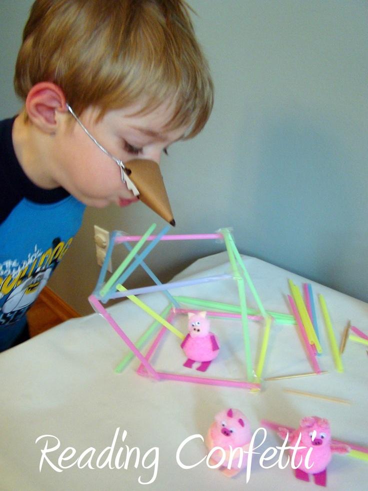 Reenactment of The 3 Little Pigs #threepigs #retelling #read.explore.learn.