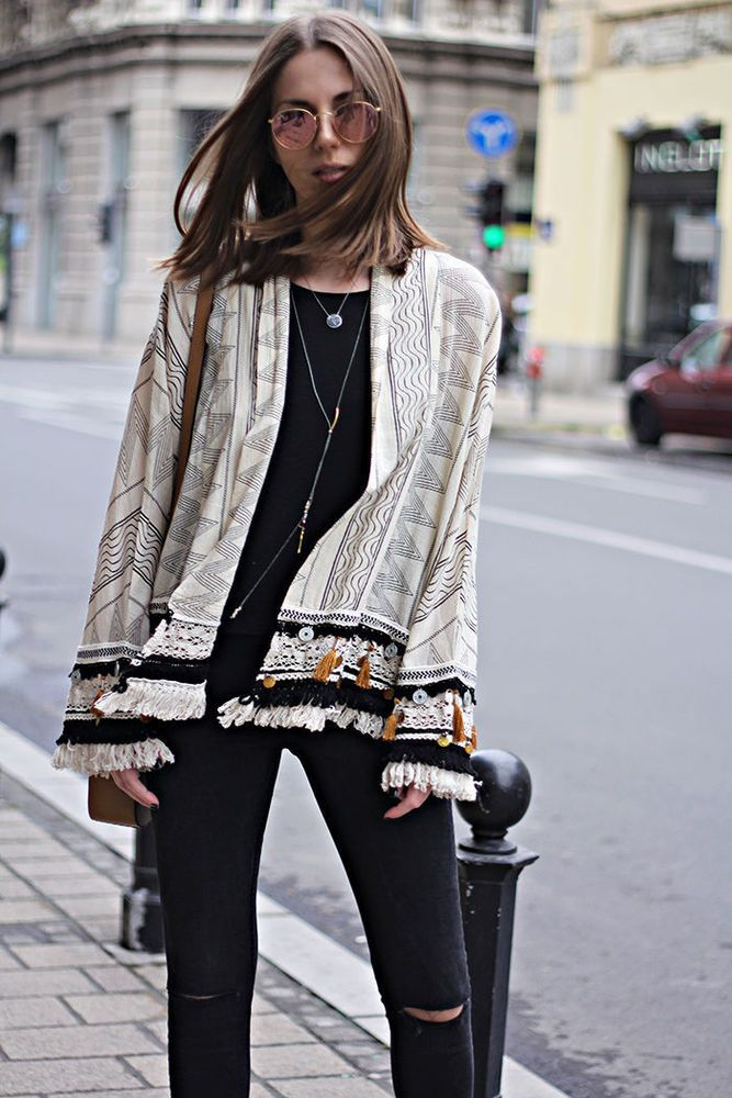 NWT  ZARA Folk Boho Style Kimono with Fringe Ecru Jacket Lace Top Jacket Size M #ZARA #OtherJackets