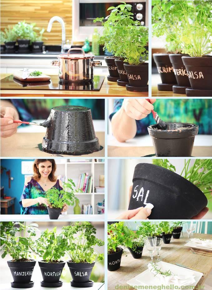"""Aproveite a """"horta em casa"""" como parte da decoração e faça um cantinho verde em sua casa. Para dar um charme a mais pintei os vasos com tinta lousa (usei esmalte sintético preto fosco). Também fica lindo se colocado como centro de mesa na decoração de um jantar. via @Denise Meneghello"""