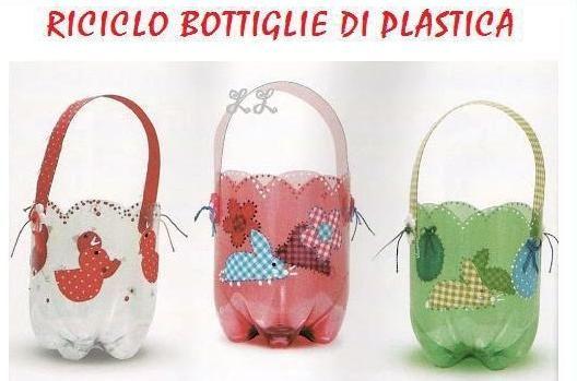 Canasticas para las sorpresas hechas con envases pl sticos - Manualidades con envases ...