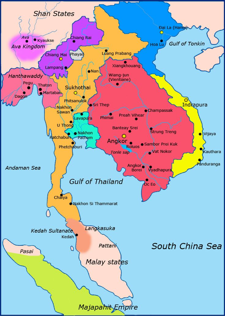 Political map of Southeast Asia circa 1300 CE. Khmer Empire is in red, Lavo kingdom/Dvaravati in light blue, Sukhothai empire in orange, Champa in yellow, Dai Viet in blue, kingdom of Lanna in purple.