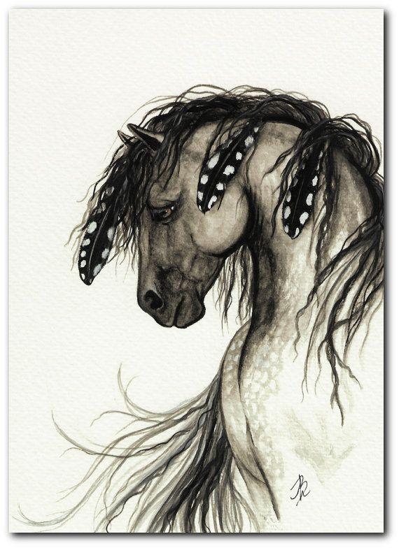 Majestic Mustang Horse Native American Grey by AmyLynBihrle, $8.99