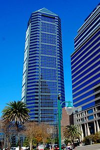The Bank of Amer­ica Tower is a sky­scraper in down­town Jack­sonville, Florida, United States. It is the tallest build­ing in Jack­sonville, and the ninth-tallest in the state of Florida (the tallest eight all being in Miami). It was built as the head­quar­ters of Bar­nett Bank and orig­i­nally named Bar­nett Cen­ter, but the name was changed in 1996 when Bar­nett was ac­quired by Na­tions­Bank, which soon merged with Bank of Amer­ica.