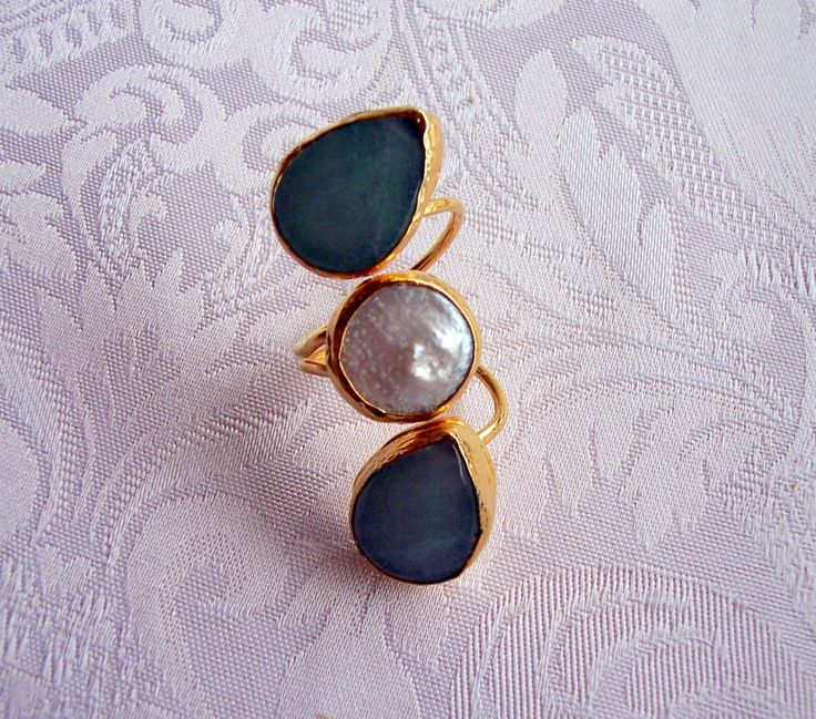 Handmade muticolour triple stone agate ring, with tear drop and round stones gold plated semiprecious gemstone, jewelry and balance by GardenOfLinda on Etsy