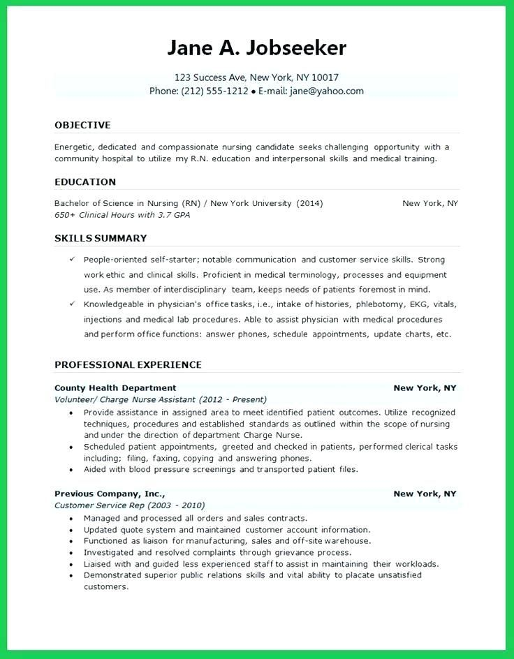 Nursing School Resume Template Nursing School Resume Template
